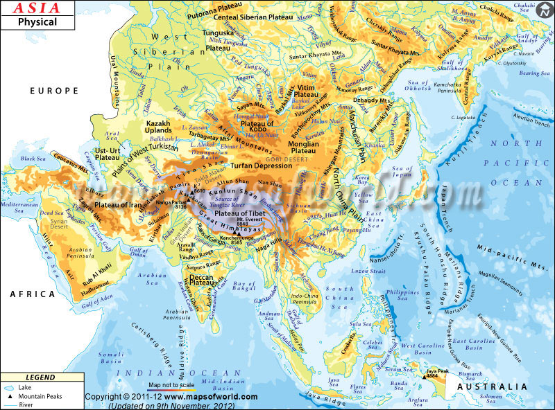 Physical Map Of Asia With Labels.Physical Map Online World Atlas 1st Period Ferguson